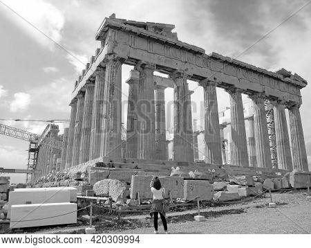Monochrome Image Of Parthenon Ancient Greek Temple Under The Restoration Works, Acropolis Hilltop, A