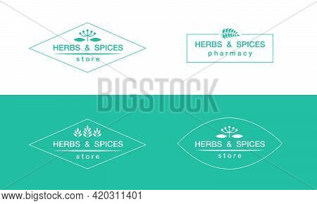 Vector Illustration Of Four Variants Of Herbs And Spices Store Or Pharmacy Emblems With Changeable T