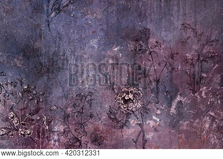 Old grungy floral background texture