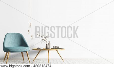 Interior Of Scandinavian Living Room With Turquoise Armchair And Wooden Coffee Table. Room With Whit