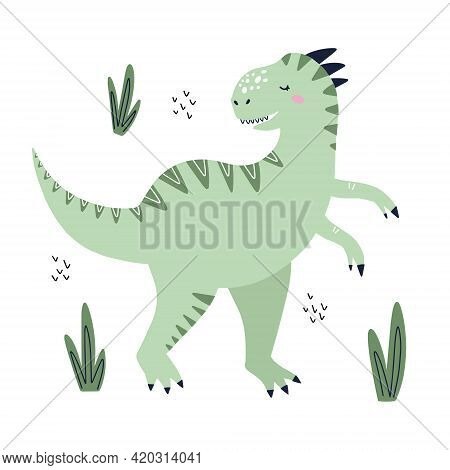 Cute Tyrannosaurus Dino With Leaves. Hand Drawn Vector Illustration For T Shirt, Card, Poster