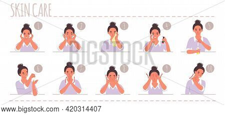 Face Skin Care Routine, Flat Vector Illustration. Cleansing, Washing, Wiping, Applying Toner And Ser
