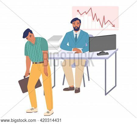 Fired Employee Leaving Office, Flat Vector Illustration. Layoff, Unemployment, Staff Reduction Due T
