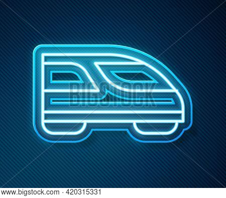 Glowing Neon Line High-speed Train Icon Isolated On Blue Background. Railroad Travel And Railway Tou