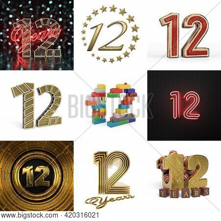 Set Of Twelve Year Birthday. Number 12 Graphic Design Element. Anniversary Number Template Elements