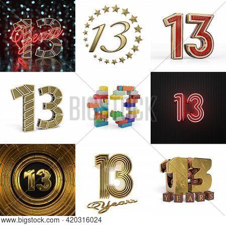 Set Of Thirteen Year Birthday. Number 13 Graphic Design Element. Anniversary Number Template Element
