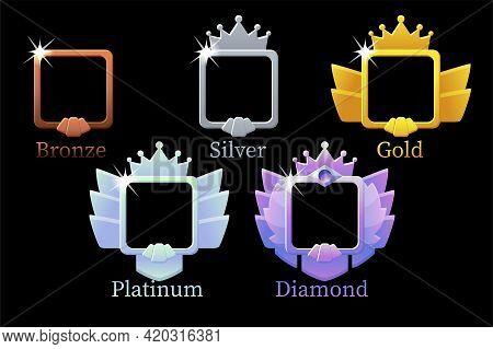 Square Frames Game Rank, Gold, Silver, Platinum, Bronze, Diamond Avatar Template 6 Steps Animation F
