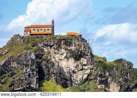 Bermeo, Spain - Sep 15, 2020: View Of Monastery Of San Juan De Gaztelugatxe On An Islet On The Coast