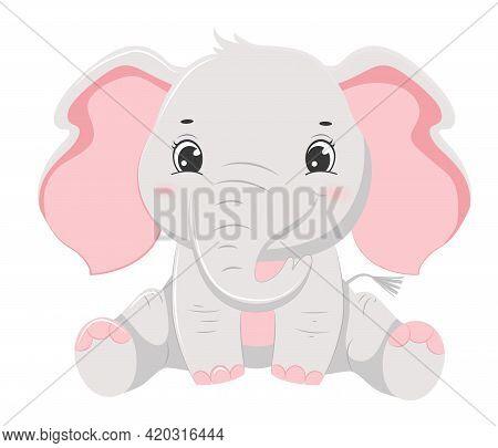 Cute Cartoon Grey Smiling Elephant Baby. Children Illustration