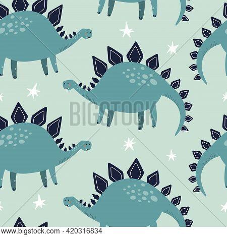 Stegosaurus Dino Seamless Pattern. Hand Drawn Vector Illustration For Fabric Or Packaging Design