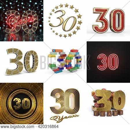 Set Of Thirty Year Birthday. Number 30 Graphic Design Element. Anniversary Number Template Elements