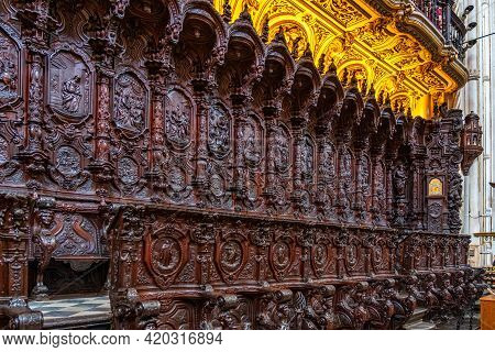 Cordoba, Spain - October 31, 2019: Amazing Choir By Pedro Duque Cornejo In The Mezquita Cathedral Of