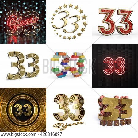 Set Of Thirty-three Year Birthday. Number 33 Graphic Design Element. Anniversary Number Template Ele