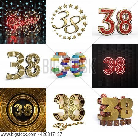 Set Of Thirty-eight Year Birthday. Number 38 Graphic Design Element. Anniversary Number Template Ele