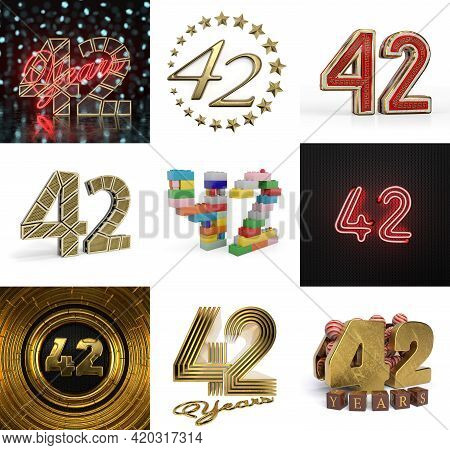Set Of Forty-two Year Birthday. Number 42 Graphic Design Element. Anniversary Number Template Elemen