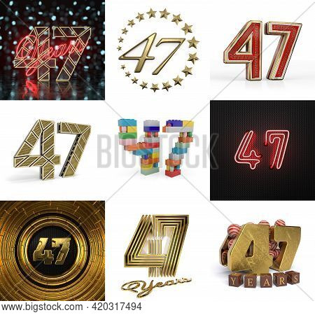 Set Of Forty-seven Year Birthday. Number 47 Graphic Design Element. Anniversary Number Template Elem