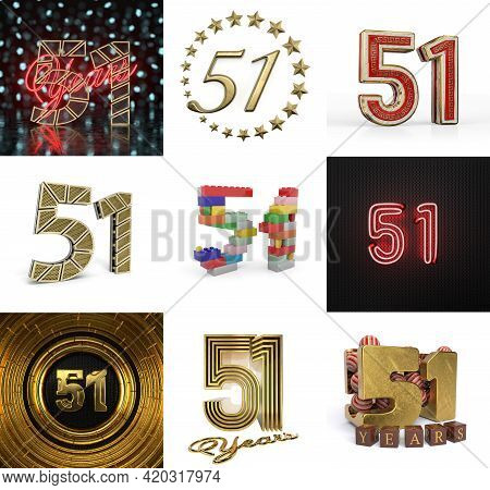 Set Of Fifty-one Year Birthday. Number 51 Graphic Design Element. Anniversary Number Template Elemen