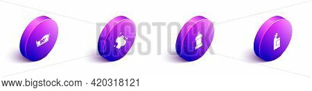 Set Isometric Temperature Wash, Water Spill, Bottle For Cleaning Agent And Icon. Vector