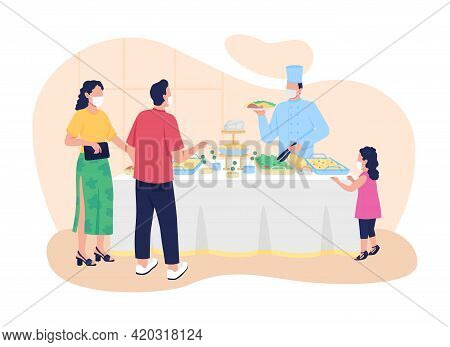 Buffet-style Restaurant 2d Vector Web Banner, Poster. Choosing Food, Drinks Flat Characters On Carto