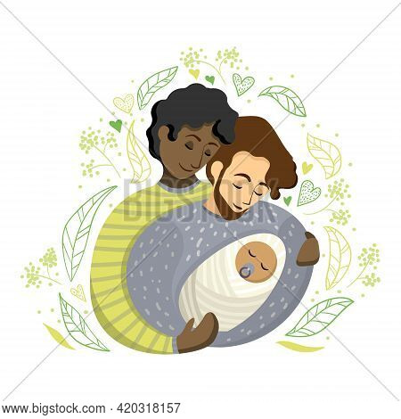 Gay International Couple Of Two Fathers With Newborn Baby Surrounded By Leaves In Cartoon-style. Vec