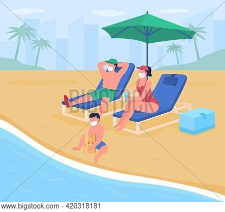Beach Vacation With New Safety Standards Flat Color Vector Illustration. Family Wearing Masks Sunbat