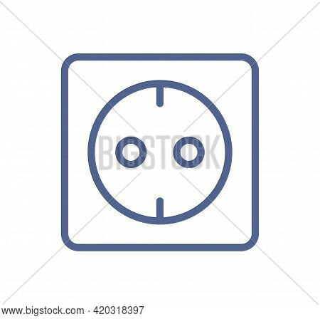 European Electric Socket Outlet Icon In Simple Line Art Style. Electricity Sign. Outlined Lineart Pi