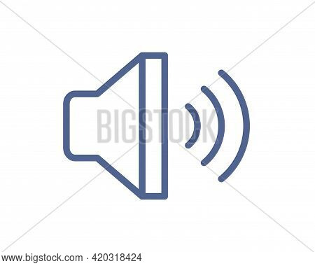 Loud Speaker With Sound Waves Icon For Volume Control. Loudspeaker Pictogram For Music App Interface