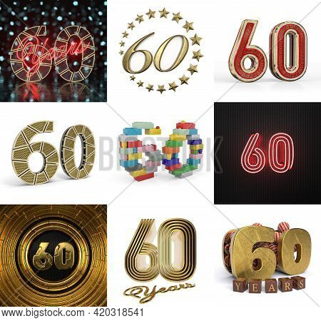 Set Of Sixty Year Birthday. Number 60 Graphic Design Element. Anniversary Number Template Elements F