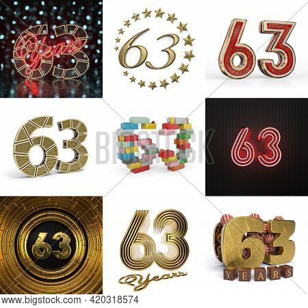 Set Of Sixty-three Year Birthday. Number 63 Graphic Design Element. Anniversary Number Template Elem