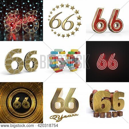 Set Of Sixty-six Year Birthday. Number 66 Graphic Design Element. Anniversary Number Template Elemen