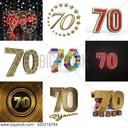 Set Of Seventy Year Birthday. Number 70 Graphic Design Element. Anniversary Number Template Elements