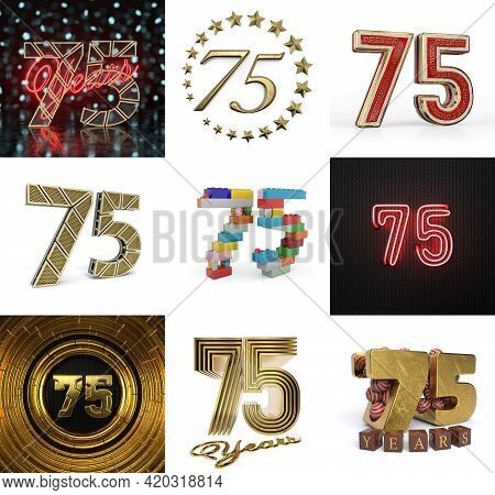 Set Of Seventy-five Year Birthday. Number 75 Graphic Design Element. Anniversary Number Template Ele