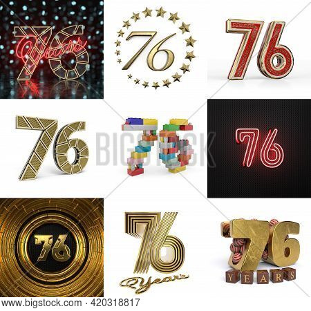 Set Of Seventy-six Year Birthday. Number 76 Graphic Design Element. Anniversary Number Template Elem