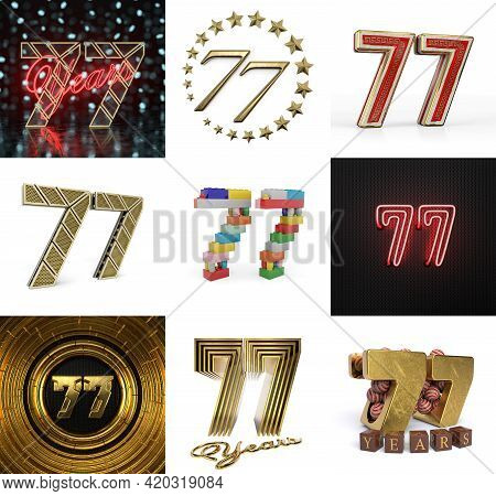 Set Of Seventy-seven Year Birthday. Number 77 Graphic Design Element. Anniversary Number Template El