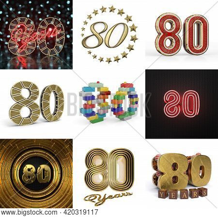 Set Of Eighty Year Birthday. Number 80 Graphic Design Element. Anniversary Number Template Elements