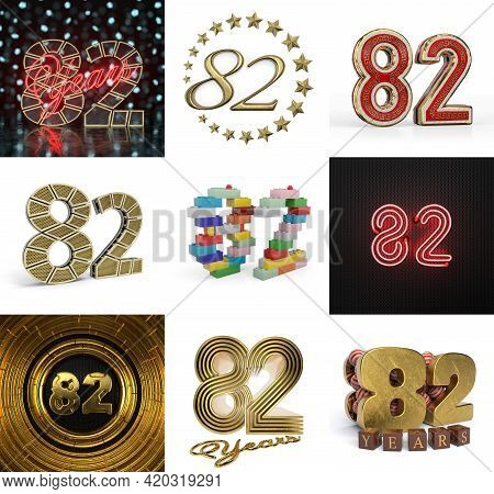 Set Of Eighty-two Year Birthday. Number 82 Graphic Design Element. Anniversary Number Template Eleme