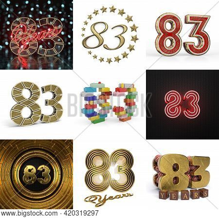 Set Of Eighty-three Year Birthday. Number 83 Graphic Design Element. Anniversary Number Template Ele