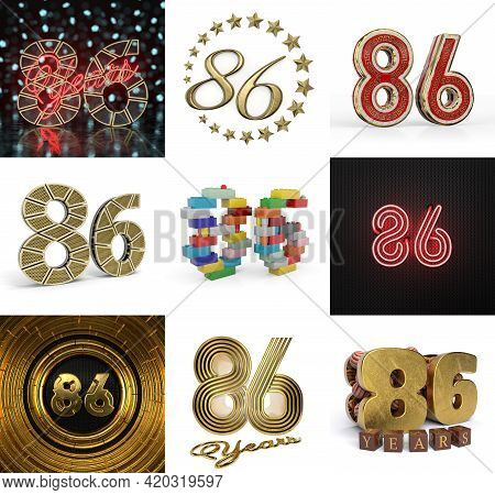 Set Of Eighty-six Year Birthday. Number 86 Graphic Design Element. Anniversary Number Template Eleme