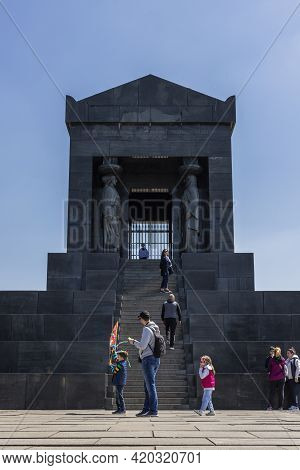 Belgrade, Serbia - April 24, 2021: Monument To The Unknown Hero At The Top Of The Avala Mountain Nea