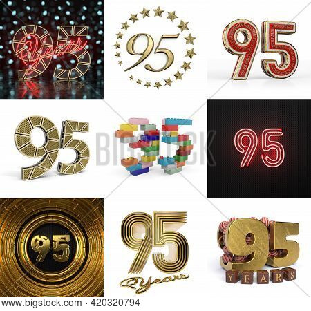 Set Of Ninety-five Year Birthday. Number 95 Graphic Design Element. Anniversary Number Template Elem
