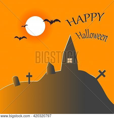 Halloween Greeting Card Template With Bloody Moon, Bats And A Sinister Graveyard. Abstract Helloween