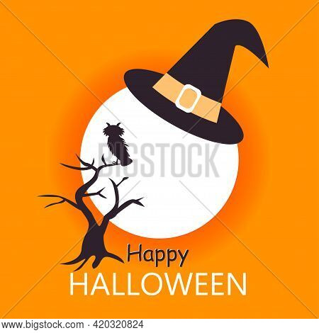 Happy Halloween Card Template With A Bloody Moon In Funny Hat And Tree With An Owl. Abstract Hellowe