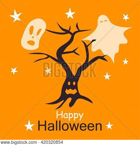 Happy Halloween Card Template. Abstract Helloween Scary Tree And Ghosts For Greeting Card Design, Pa