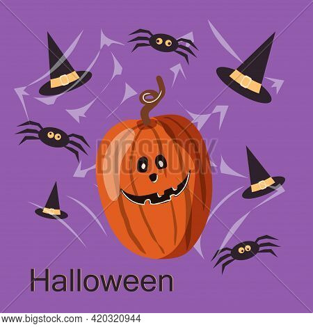 Halloween Party Card Template. Abstract Helloween Pumpkin And Spiders On Purple Background For Greet