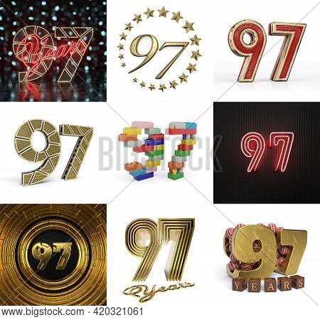 Set Of Ninety-seven Year Birthday. Number 97 Graphic Design Element. Anniversary Number Template Ele