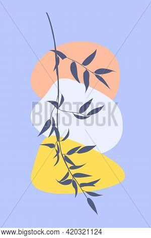 Branch Of Tree In Boho Style. Minimalist Abstract Fashion Artwork For Design T Shirt, Bag, Card, Sum