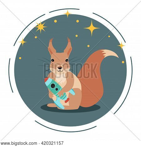 Cute Squirrel With A Rocket In Her Hands And Stars On The Background. Children's Cartoon Vector Illu
