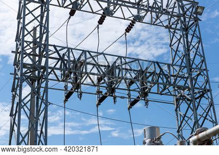 Main Substation 69 Kv To Disconnect Switch On A Steel Column Structure