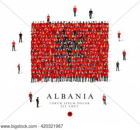 A Large Group Of People Are Standing In Black And Red Robes, Symbolizing The Flag Of Albania. Vector