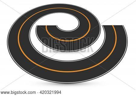 Road Turn, Empty Circular Traffic, Reversal Speedway, Swirling Road, Drifting Race Track, Bike Path,
